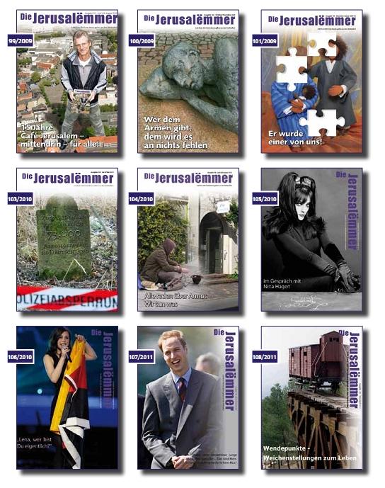 Jerusalëmmer Titelseiten vergangener Ausgaben